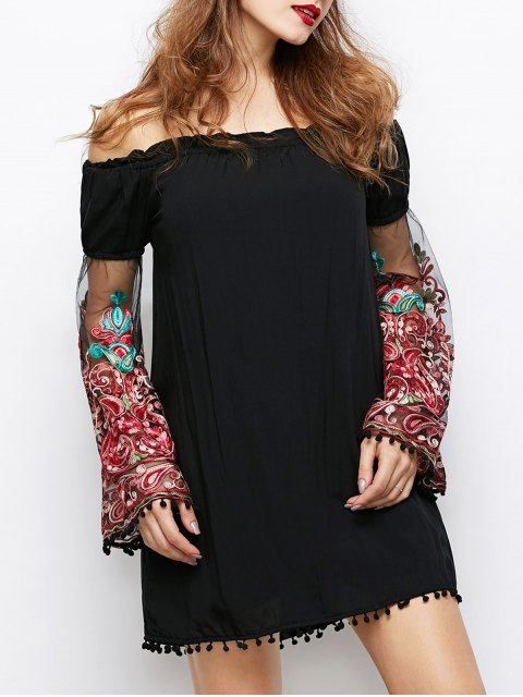 chic Off Shoulder Paisley Dress - BLACK L Mobile