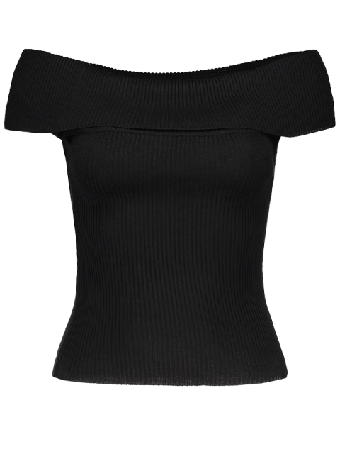lady Foldover Off The Shoulder Sweater - BLACK ONE SIZE Mobile