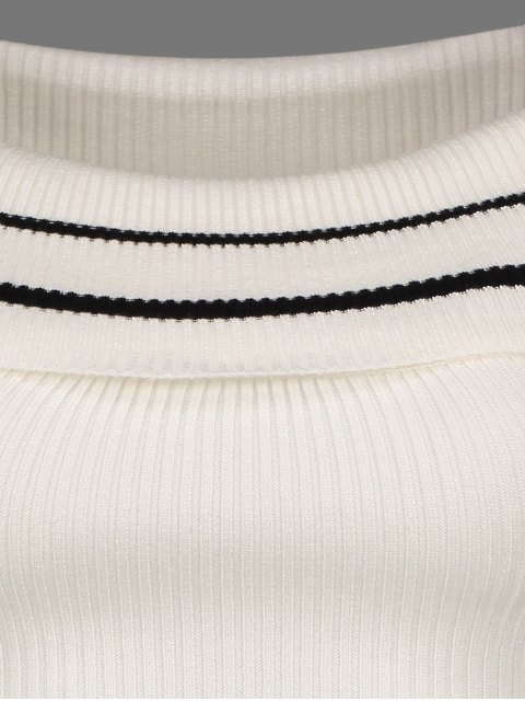 online Foldover Off The Shoulder Sweater - STRIPE ONE SIZE Mobile