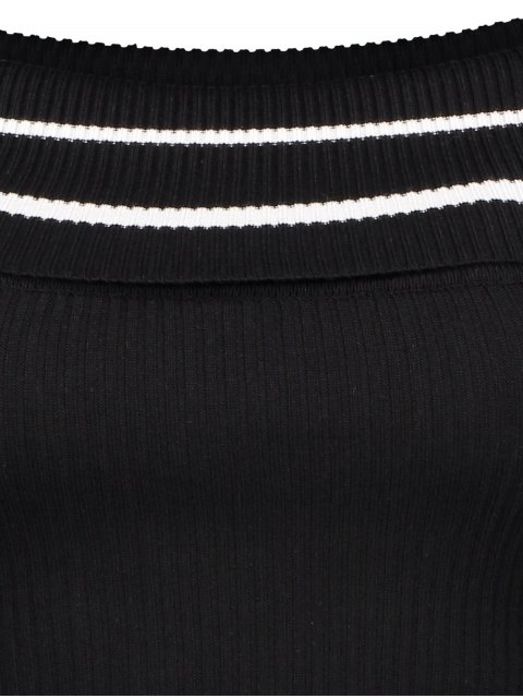 new Foldover Off The Shoulder Sweater - BLACK STRIPE ONE SIZE Mobile