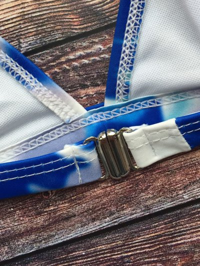 Tie-Dyed Halter Padded Bikini - BLUE L Mobile