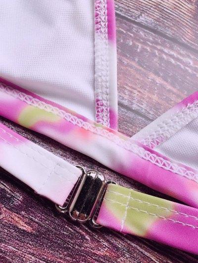 Tie-Dyed Halter Padded Bikini - PINK L Mobile