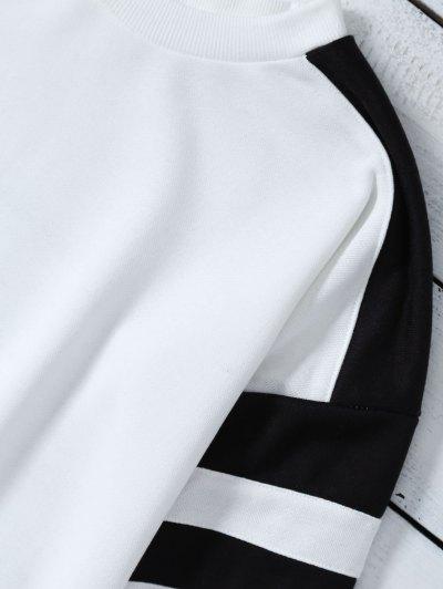 Casual Color Block Sweatshirt - WHITE L Mobile