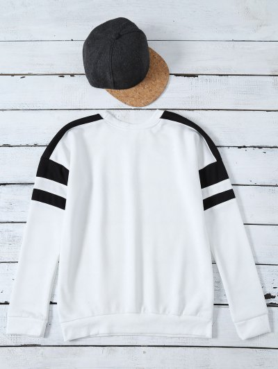 Casual Color Block Sweatshirt - WHITE M Mobile