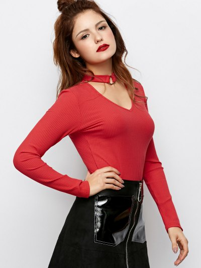 Casual Choker Ribbed Knitwear - RED L Mobile