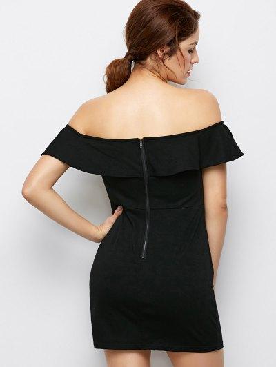 Flounced Floral Bodycon Dress - BLACK L Mobile
