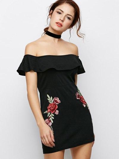 Flounced Floral Bodycon Dress - BLACK M Mobile