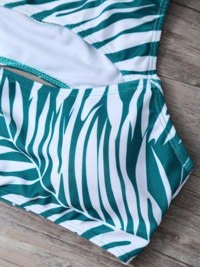 Tropical Print Cut Out Bikini Set - GREEN S Mobile