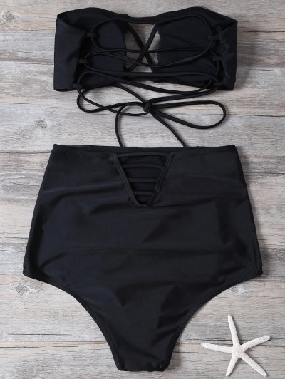 High Waisted Cut Out Swimsuit - BLACK M Mobile