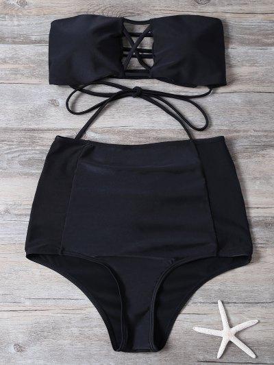 High Waisted Cut Out Bikini Set - BLACK S Mobile
