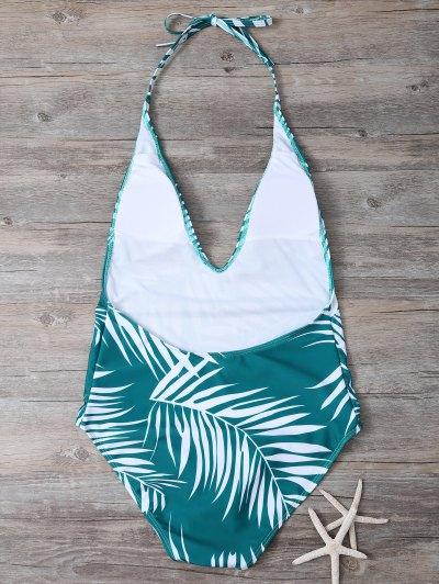 Crosscriss Tropical Print One-Piece Swimwear - GREEN M Mobile