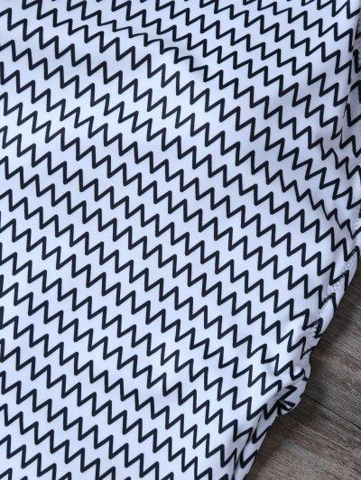 Backless Zig Zag One-Piece Swimwear - WHITE S Mobile