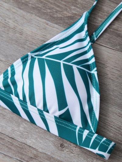 Tropical Print Cutout Bikini Set - GREEN M Mobile