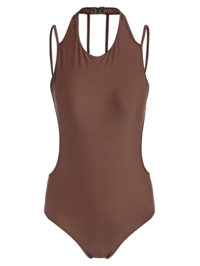 Strappy High Neck Caged Swimsuit - CLARET L Mobile