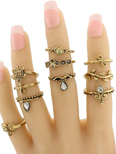 Leaf Tortoise Geometric Jewelry Ring Set - GOLDEN  Mobile