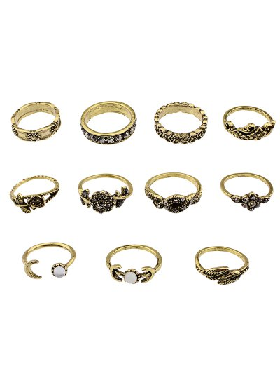 Flower Leaf Rhinestoned Jewelry Ring Set - GOLDEN  Mobile