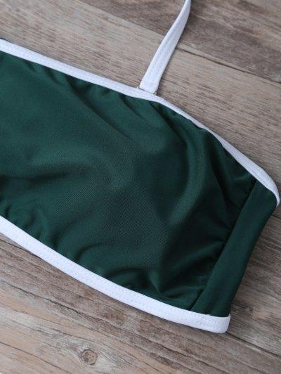 Color Block Sequined Bikini Set - BLACKISH GREEN L Mobile