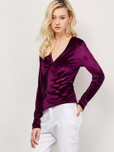 Long Sleeve Velvet Wrap Top - WINE RED M Mobile
