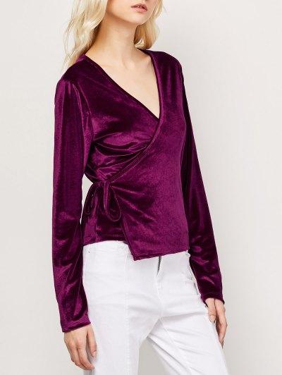 Long Sleeve Velvet Wrap Top - WINE RED S Mobile