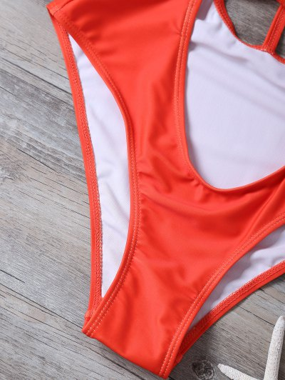 Cropped Cut Out One-Piece Swimwear - RED M Mobile