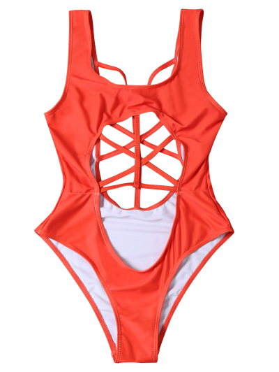 Cropped Cut Out One-Piece Swimwear - RED L Mobile