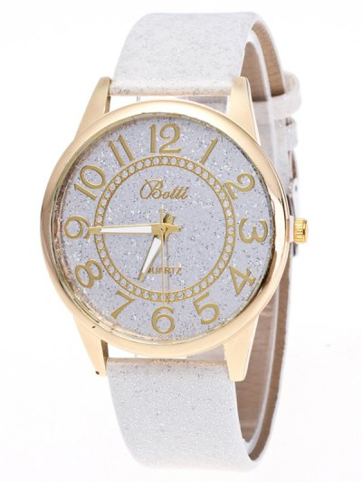 Faux Leather Glitter Number Watch - WHITE  Mobile
