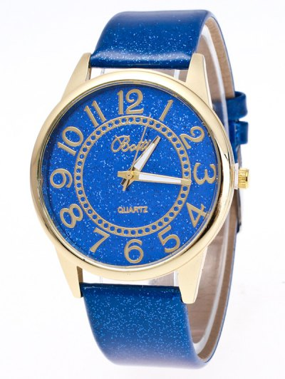 Faux Leather Glitter Number Watch - BLUE  Mobile