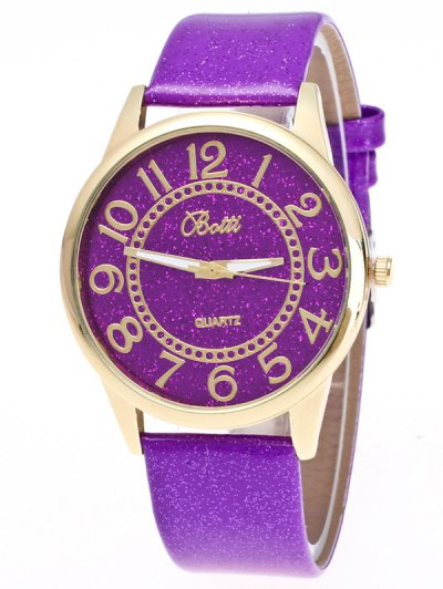 Faux Leather Glitter Number Watch - PURPLE  Mobile