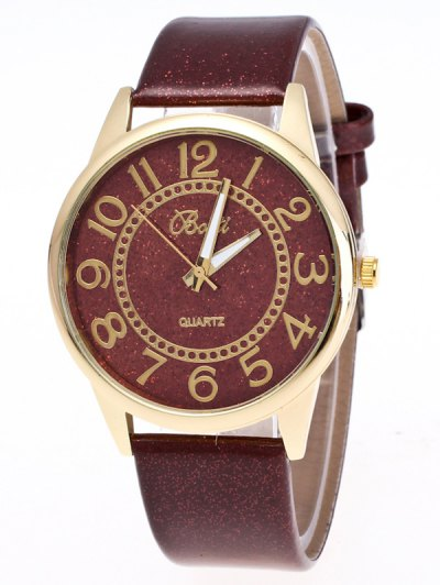 Faux Leather Glitter Number Watch - BROWN  Mobile