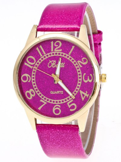Faux Leather Glitter Number Watch - TUTTI FRUTTI  Mobile