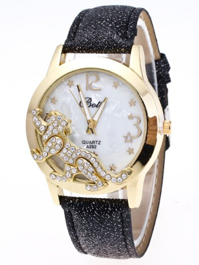 Faux Leather Leopard Quartz Watch - BLACK  Mobile