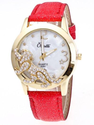 Faux Leather Leopard Quartz Watch - RED  Mobile