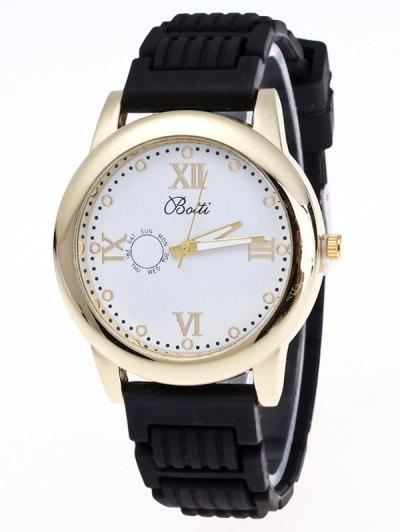 Silicone Roman Numerals Quartz Watch - BLACK  Mobile