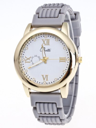 Silicone Roman Numerals Quartz Watch - GRAY  Mobile