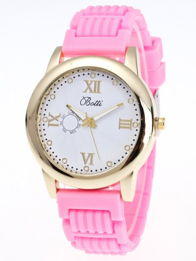 Silicone Roman Numerals Quartz Watch - PINK  Mobile