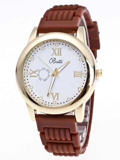 Silicone Roman Numerals Quartz Watch - BROWN  Mobile