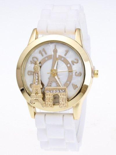 Eiffel Tower Silicone Quartz Watch - WHITE  Mobile