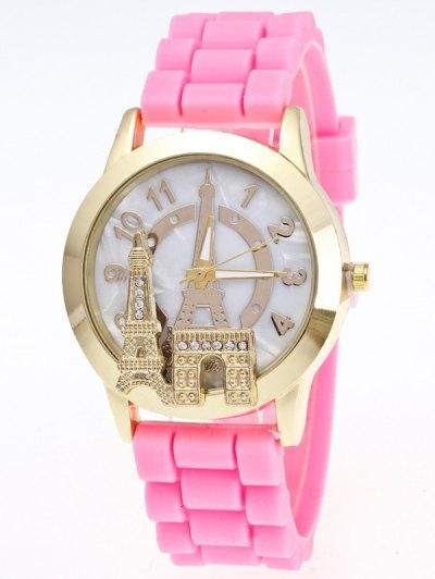 Eiffel Tower Silicone Quartz Watch - PINK  Mobile