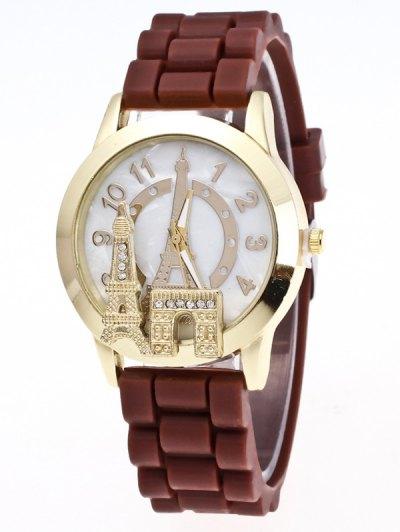 Eiffel Tower Silicone Quartz Watch - BROWN  Mobile