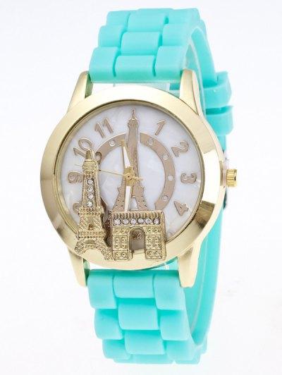 Eiffel Tower Silicone Quartz Watch - LAKE BLUE  Mobile
