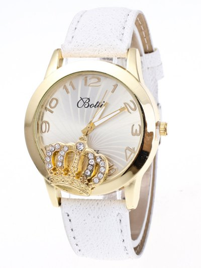 Faux Leather Crown Number Watch - WHITE  Mobile