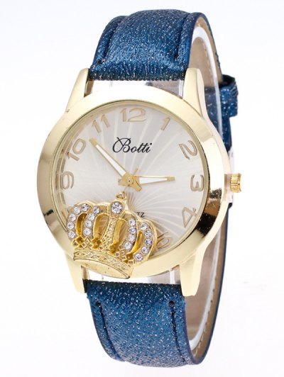 Faux Leather Crown Number Watch - BLUE  Mobile