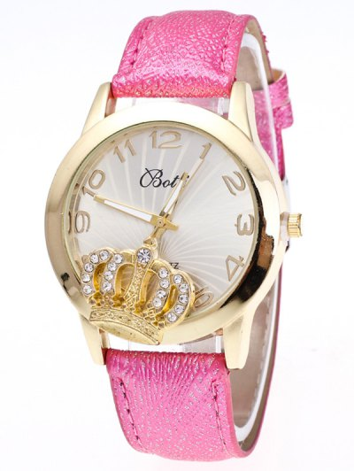 Faux Leather Crown Number Watch - TUTTI FRUTTI  Mobile