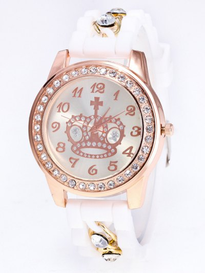 Silicone Rhinestone Crown Number Watch - WHITE  Mobile