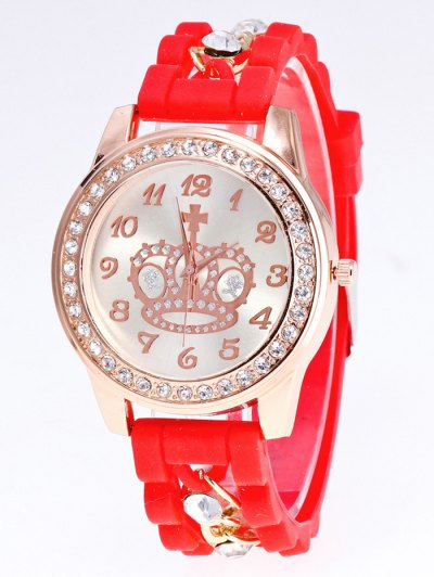 Silicone Rhinestone Crown Number Watch - RED  Mobile