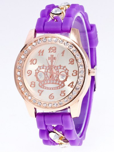 Silicone Rhinestone Crown Number Watch - PURPLE  Mobile
