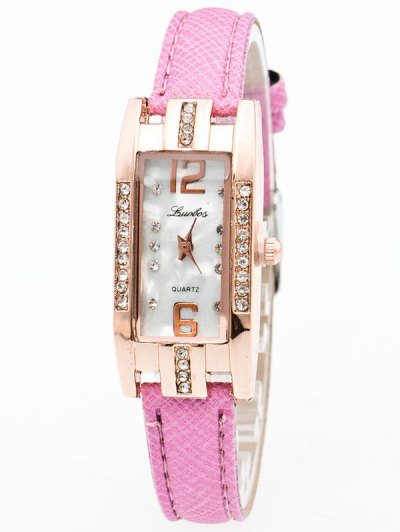 Faux Leather Rhinestone Rectangle Watch - PINK  Mobile