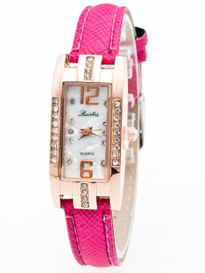 Faux Leather Rhinestone Rectangle Watch - TUTTI FRUTTI  Mobile