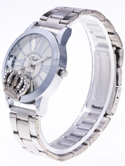Rhinestone Crown Roman Numerals Watch - SILVER  Mobile