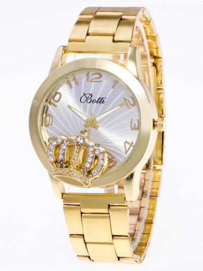 Rhinestone Crown Number Watch - GOLDEN  Mobile